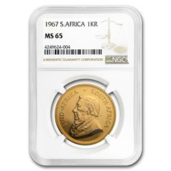 1967 South Africa 1 oz Gold Krugerrand MS-65 NGC