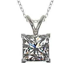 1.25 ctw Certified VS/SI Quality Princess Diamond Necklace 10k White Gold