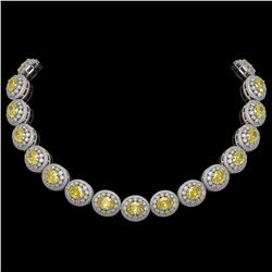 89.35 ctw Canary Citrine & Diamond Victorian Necklace 14K White Gold