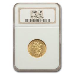 1835 $5 Gold Classic Head Half Eagle AU-58 NGC