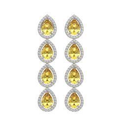 7.48 ctw Fancy Citrine & Diamond Micro Pave Halo Earrings 10k White Gold