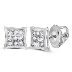 10kt White Gold Round Diamond Square Kite Cluster Stud Earrings 1/20 Cttw