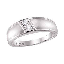10kt White Gold Round Diamond Band Ring 1/5 Cttw