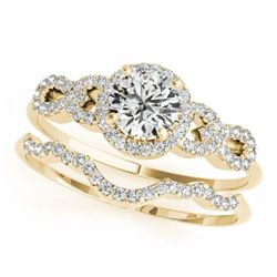 1.18 ctw Certified VS/SI Diamond 2pc Wedding Set 14k Yellow Gold
