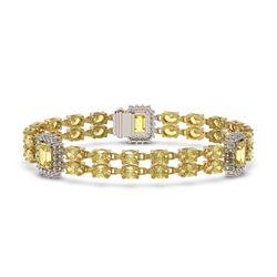 14.96 ctw Citrine & Diamond Bracelet 14K Yellow Gold