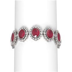 50.03 ctw Ruby & Diamond Bracelet 18K White Gold