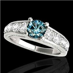 3.05 ctw SI Certified Fancy Blue Diamond Solitaire Ring 10k White Gold