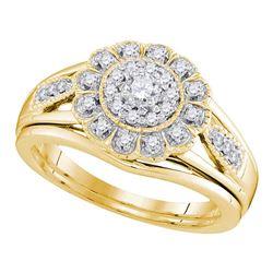 10kt Yellow Gold Diamond Round Bridal Wedding Engagement Ring Band Set 1/3 Cttw