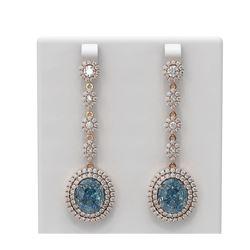 15.03 ctw Blue Topaz & Diamond Earrings 18K Rose Gold