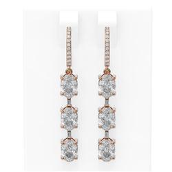 4.99 ctw Oval Diamond Earrings 18K Rose Gold