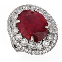 13.85 ctw Certified Ruby & Diamond Victorian Ring 14K White Gold