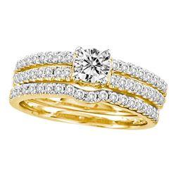 14kt Yellow Gold Round Diamond 3-Piece Bridal Wedding Engagement Ring Band Set 1.00 Cttw