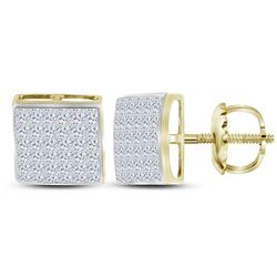 14kt Yellow Gold Princess Diamond Square Cluster Stud Earrings 1-1/2 Cttw