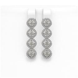 3.84 ctw Cushion Cut Diamond Micro Pave Earrings 18K White Gold
