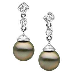 Black Tahitian Round Pearl and Diamond Royale Dangle Earrings