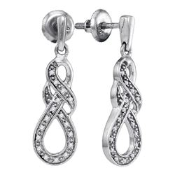 Sterling Silver Round Diamond Infinity Dangle Screwback Earrings 1/8 Cttw