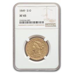 1849 $10 Liberty Gold Eagle XF-45 NGC
