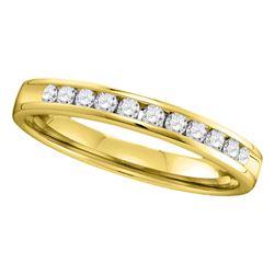 14kt Yellow Gold Machine Set Round Diamond Wedding Channel Band 1/4 Cttw