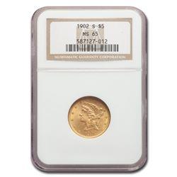 1902-S $5 Liberty Gold Half Eagle MS-65 NGC
