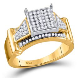 10kt Yellow Gold Round Diamond Elevated Square Cluster Ring 1/4 Cttw