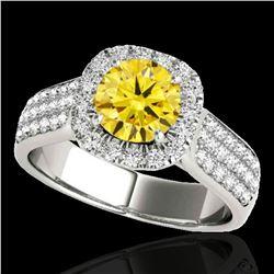 1.8 ctw Certified SI/I Fancy Intense Yellow Diamond Ring 10k White Gold