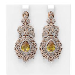 12.02 ctw Canary Citrine & Diamond Earrings 18K Rose Gold