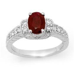 2.13 ctw Ruby & Diamond Ring 18k White Gold