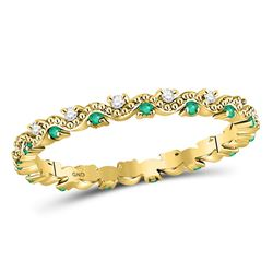 10kt Yellow Gold Round Emerald Diamond Eternity Stackable Band Ring 1/4 Cttw