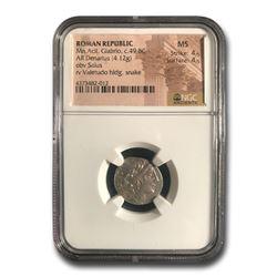 Roman Republic AR Denarius Mn Acil Glabrio (C.49 BC) MS NGC