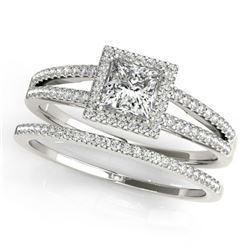 1.01 ctw Certified VS/SI Princess Diamond 2pc Set Halo 14k White Gold