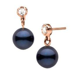 Black Akoya Pearl and Dainty Diamond Dangle Earrings, 6.5-7.0mm