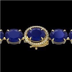 76 ctw Sapphire & Micro Pave Diamond Bracelet 14k Yellow Gold