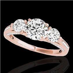 1.75 ctw Certified Diamond 3 Stone Ring 10k Rose Gold