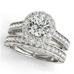 2.63 ctw Certified VS/SI Diamond 2pc Wedding Set Halo 14k White Gold