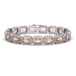 22.81 ctw Morganite & Diamond Micro Pave Halo Bracelet 10k White Gold