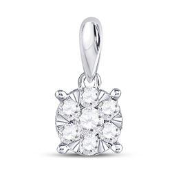 14kt White Gold Round Diamond Flower Cluster Pendant 1/4 Cttw