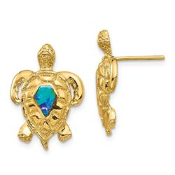 14k Created Opal Turtle Post Earrings