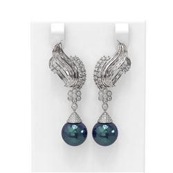 3.73 ctw Diamond & Pearl Earrings 18K White Gold