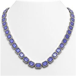 56.69 ctw Tanzanite & Diamond Micro Pave Halo Necklace 10k White Gold