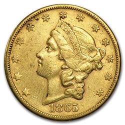 1865-S $20 Liberty Gold Double Eagle XF Details (Cleaned)