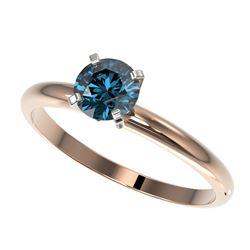 0.75 ctw Certified Intense Blue Diamond Engagment Ring 10k Rose Gold