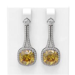 13.7 ctw Canary Citrine & Diamond Earrings 18K White Gold