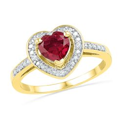 10kt Yellow Gold Round Lab-Created Ruby Heart Ring 1.00 Cttw