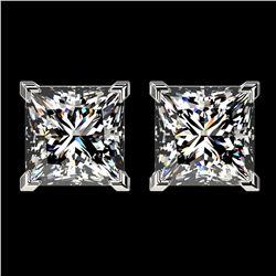 2.50 ctw VS/SI Quality Princess Diamond Stud Earrings 10k White Gold