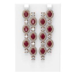 21.48 ctw Ruby & Diamond Earrings 18K Rose Gold