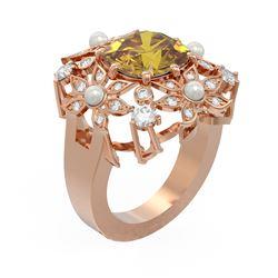 6.96 ctw Canary Citrine & Diamond Ring 18K Rose Gold
