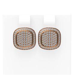 1.09 ctw Diamond Earrings 18K Rose Gold
