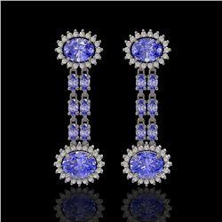 9.01 ctw Tanzanite & Diamond Earrings 14K White Gold