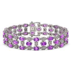 12.7 ctw Amethyst & Diamond Row Bracelet 10K White Gold
