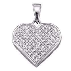 Sterling Silver Round Diamond Heart Cluster Pendant 1/6 Cttw